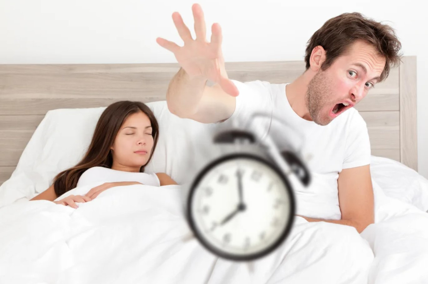 man angry for clock