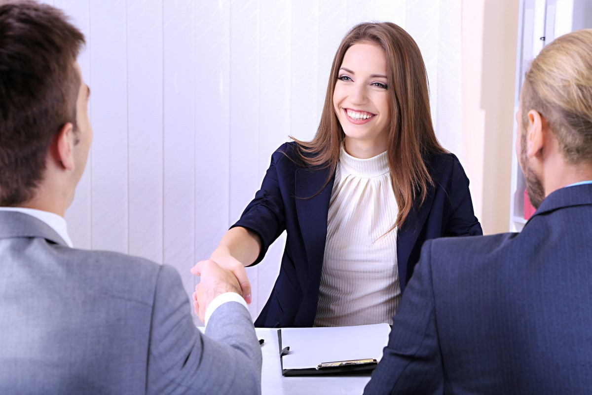 young woman interview